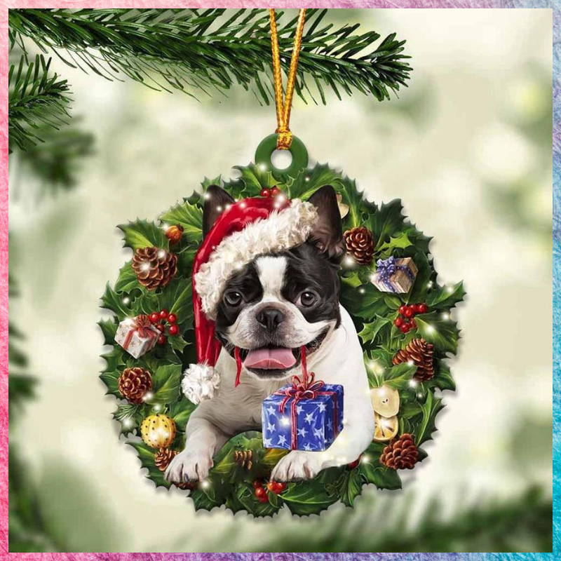 Boston Terrier and Christmas gift ornament 1