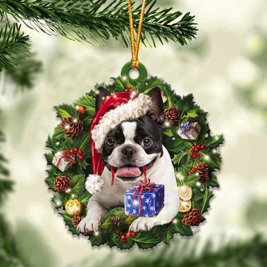 Boston Terrier and Christmas gift ornament