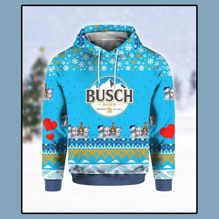 Busch Beer Print Ugly Christmas Hoodie 3D4 1