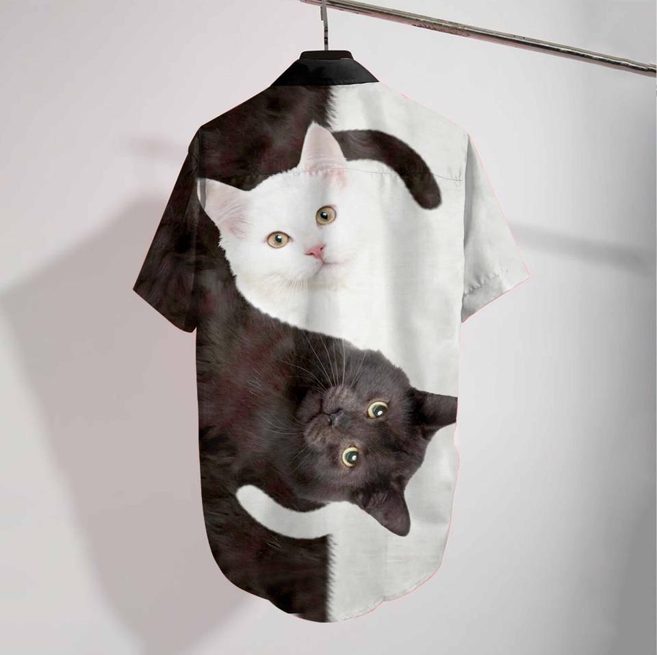 Cat yin yang hawaiian shirt1