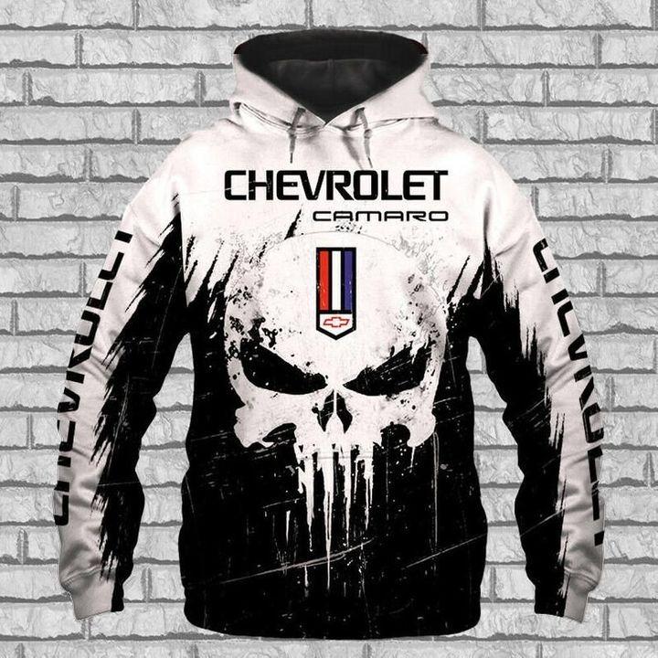 Chevrolet camaro punisher skull 3d over print hoodie 1