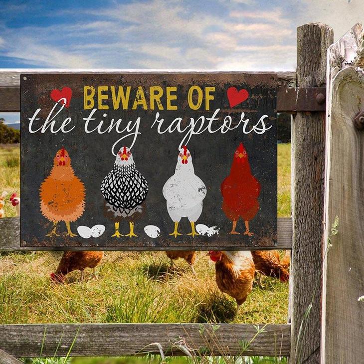 Chicken Beware OF The Tiny Raptors Metal Sign
