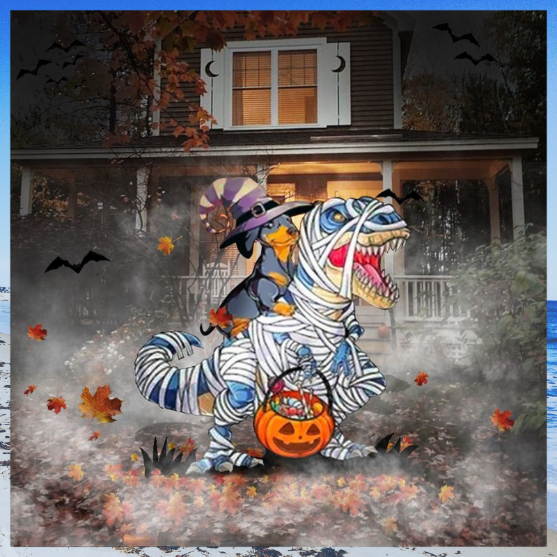 Dachshund Riding T Rex Halloween Yard Sign
