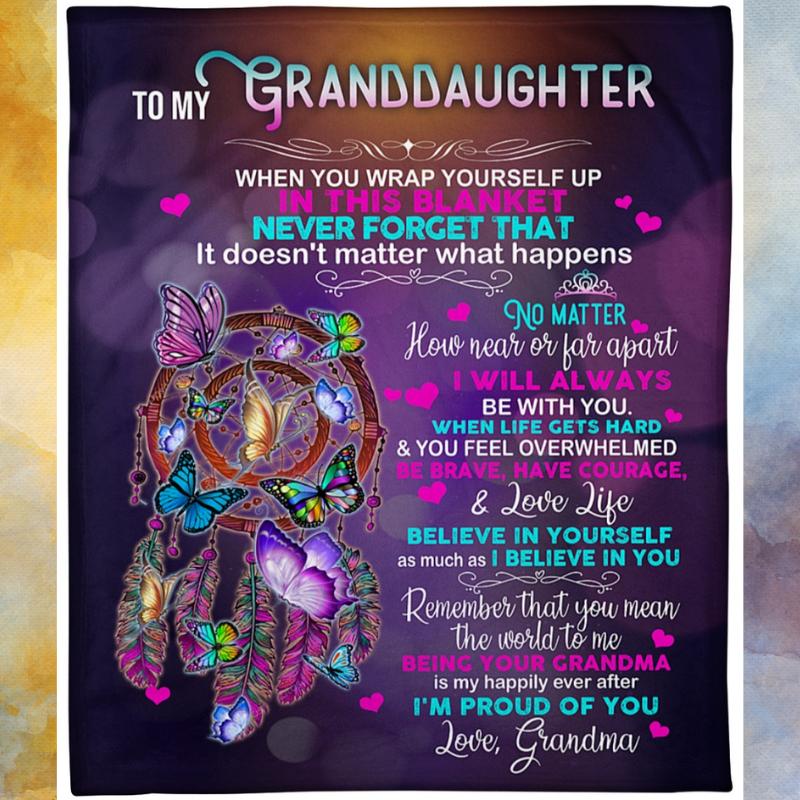 Dreamcatcher Grandma to my granddaughter blanket 1