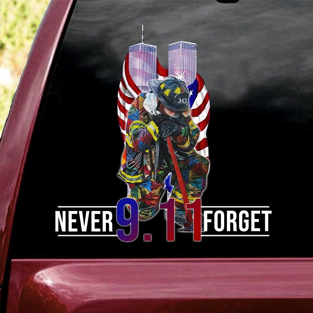 Firefighter September 11th Never Forget decal