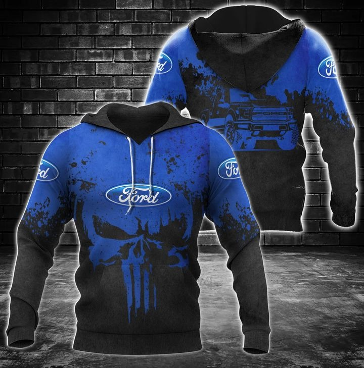 Ford punisher skull 3d over print hoodie 1