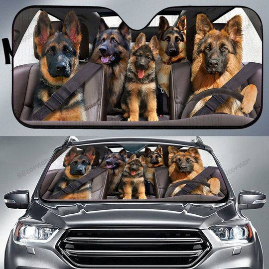 German Shepherd family driving Car sunshade 4