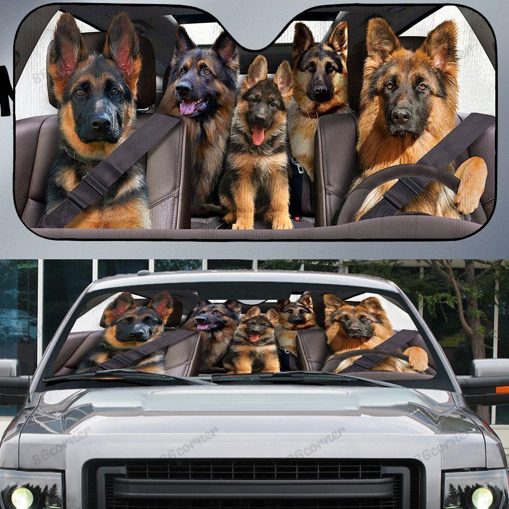 German Shepherd family driving car sunshade 1