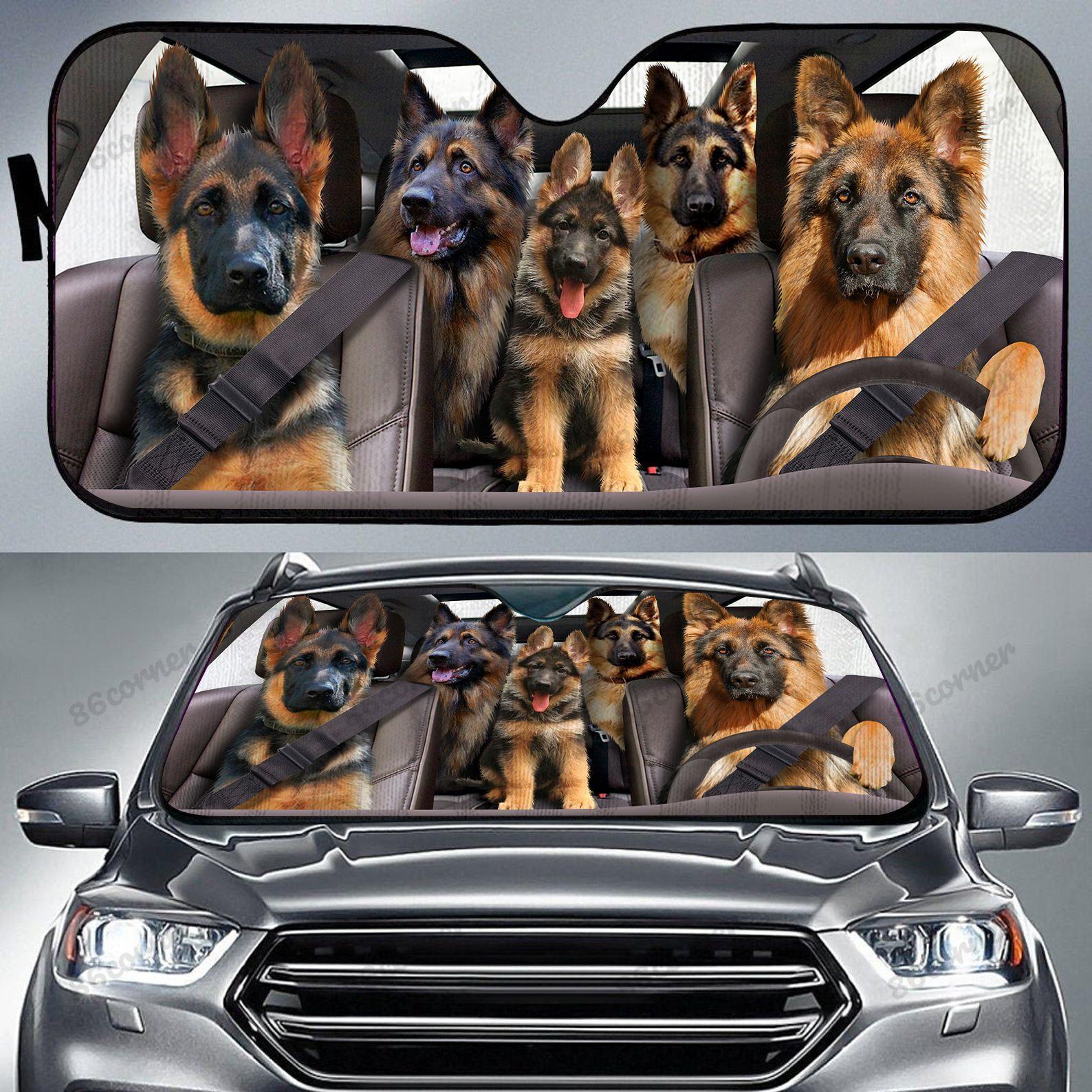 German Shepherd family driving car sunshade
