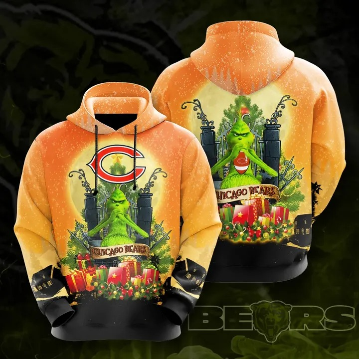 Grinch Chicago bears 3d all over print hoodie 1
