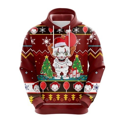 IT Pennywise chibi 3d ugly Christmas hoodie 1