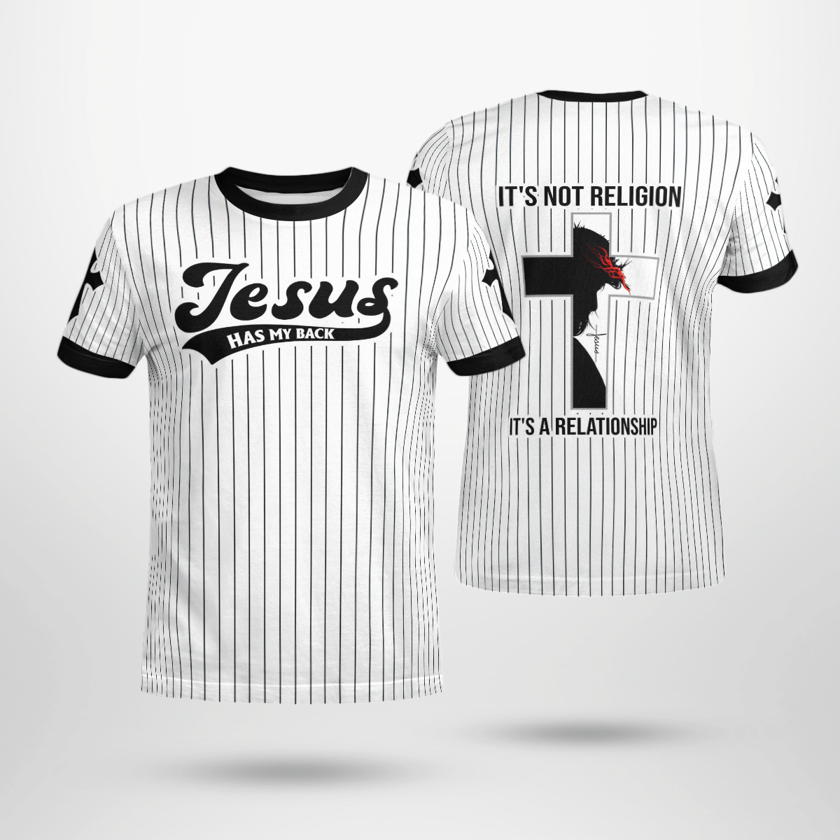Jesus has my back its not a religion its a relationship baseball jersey shirt