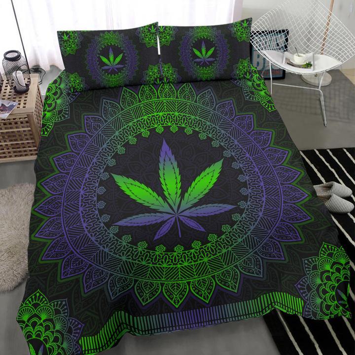 Mandala weed leaf bedding set