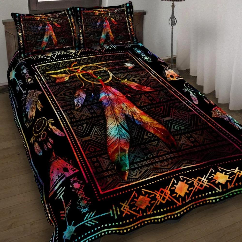 Native feather dreamcatcher quilt bedding set 2