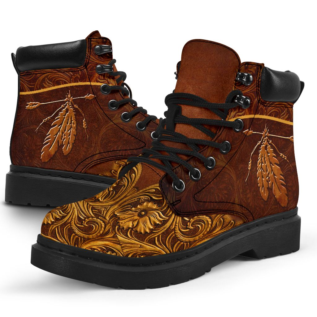 Native printed leather timblerland boots 2