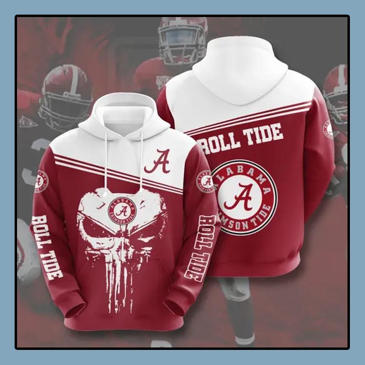 Punisher skull Alabama Crimson Tide All over print 3d hoodie1 1