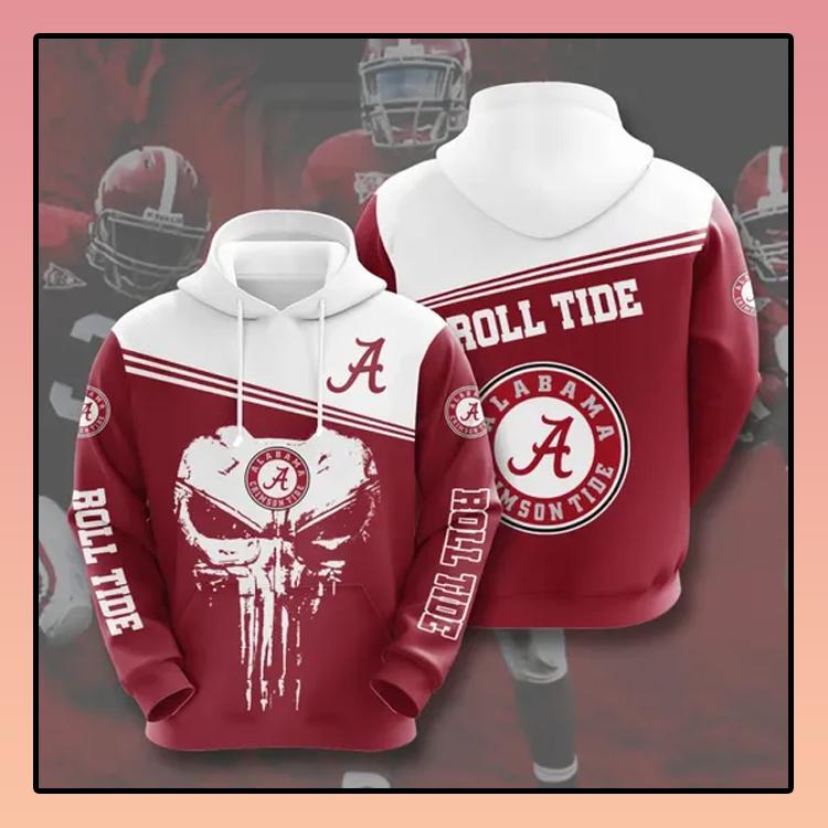 Punisher skull Alabama Crimson Tide All over print 3d hoodie3 1