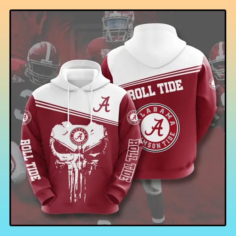 Punisher skull Alabama Crimson Tide All over print 3d hoodie4