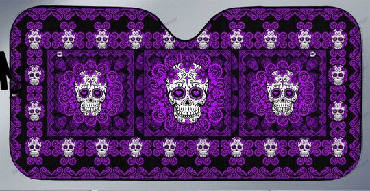 Purple sugar skull car sunshade4