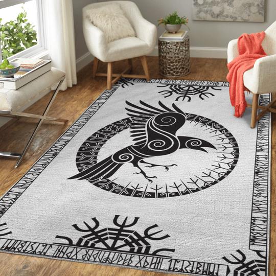 Raven and rune viking area rug