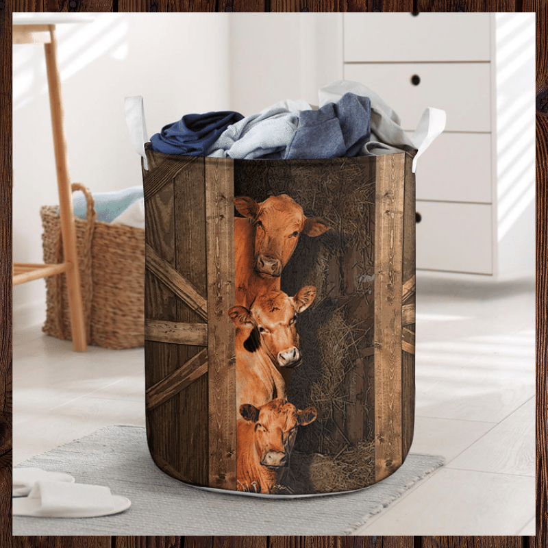 Red angus cattle laundry basket 1