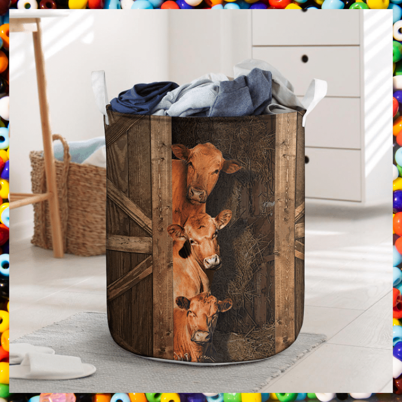 Red angus cattle laundry basket 2