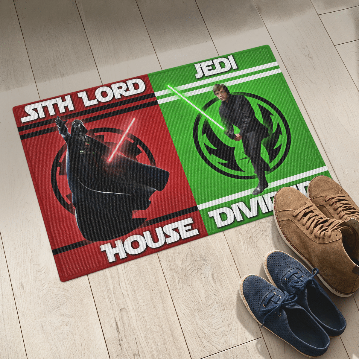 Sith Lord and Jedi house divided doormat 1
