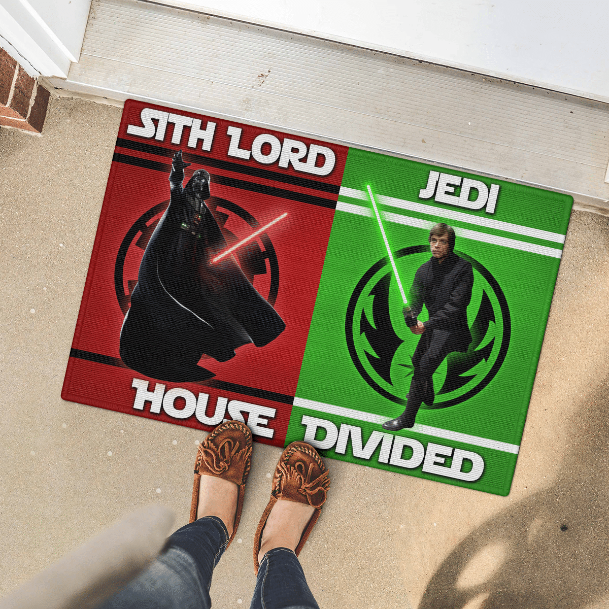 Sith Lord and Jedi house divided doormat 2