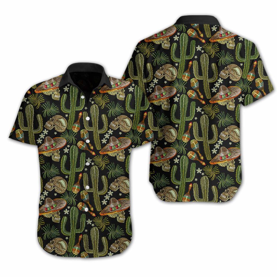 Skull Cactus Embroidery hawaiian shirt1