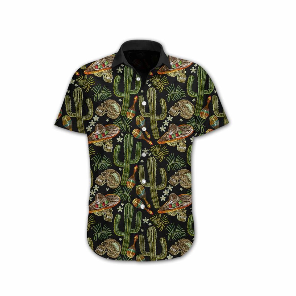Skull Cactus Embroidery hawaiian shirt2