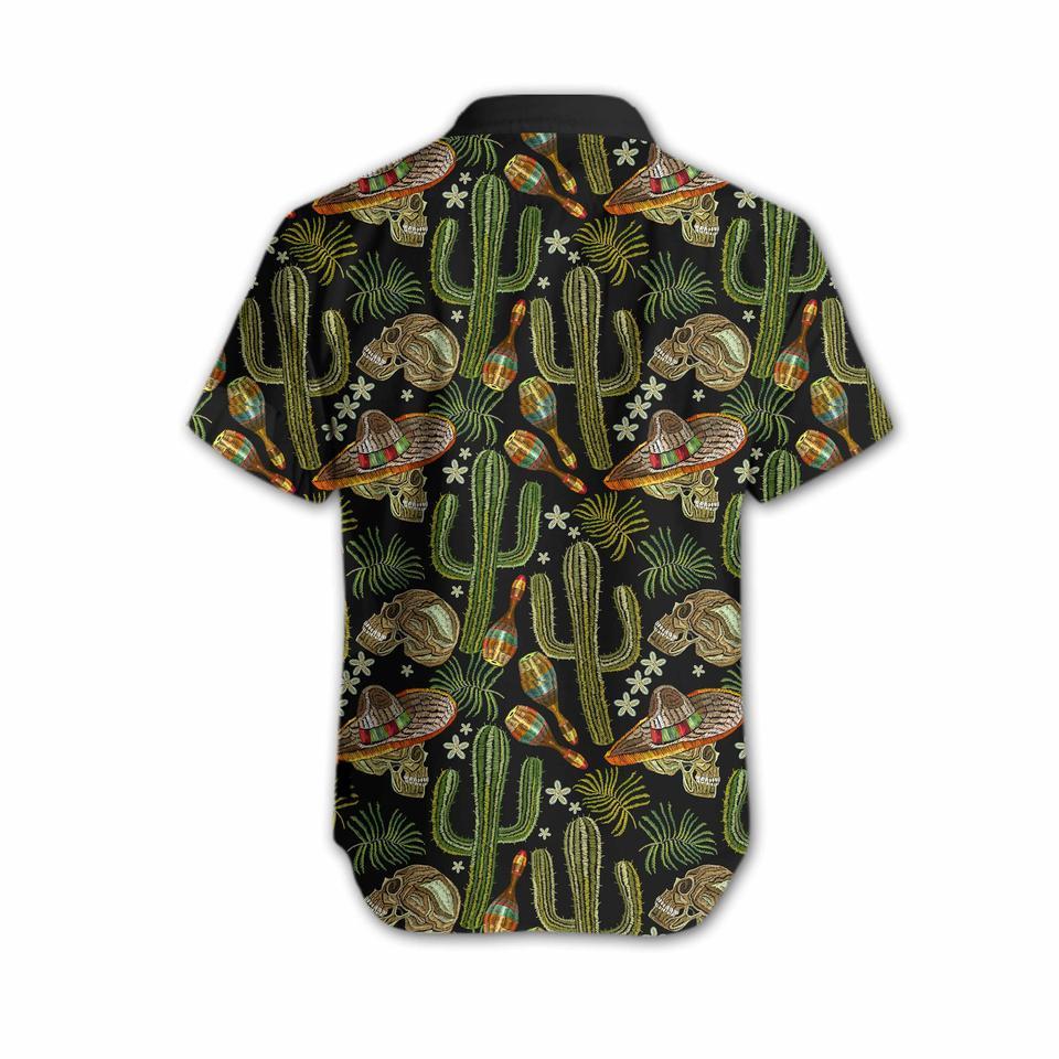 Skull Cactus Embroidery hawaiian shirt3