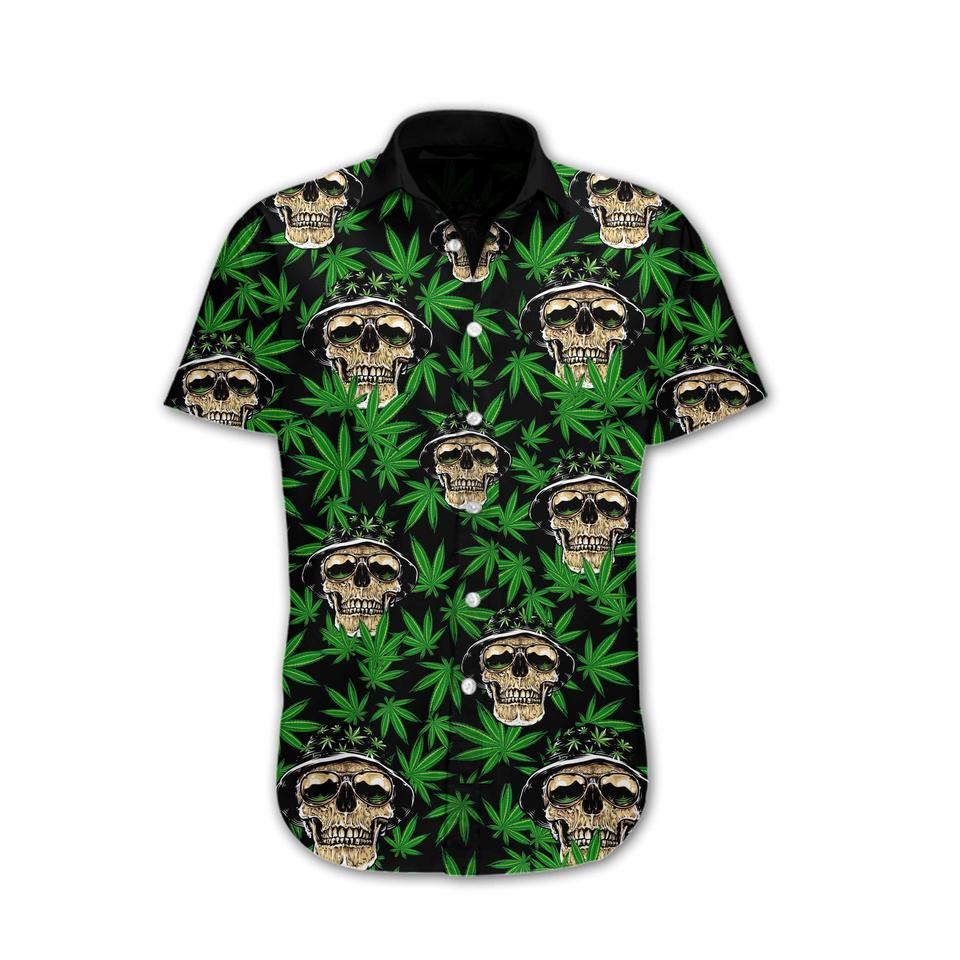 Skull and weed hawaiian shirt2