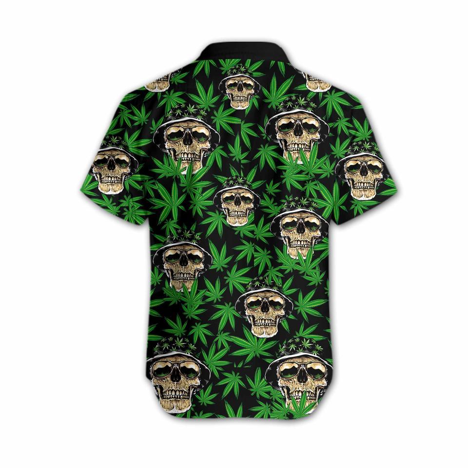 Skull and weed hawaiian shirt3