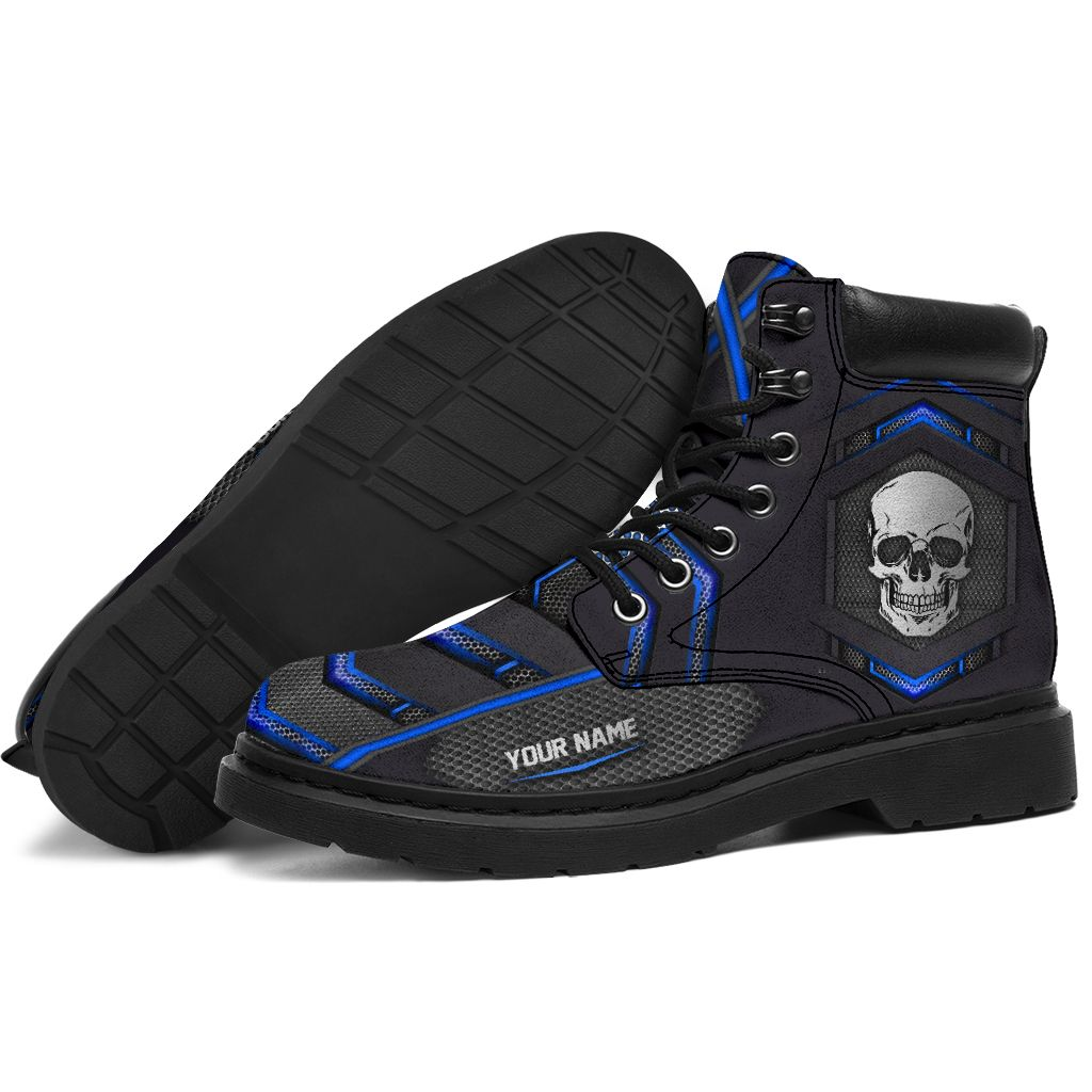 Skull carbon pattern custom name timberland boots 1
