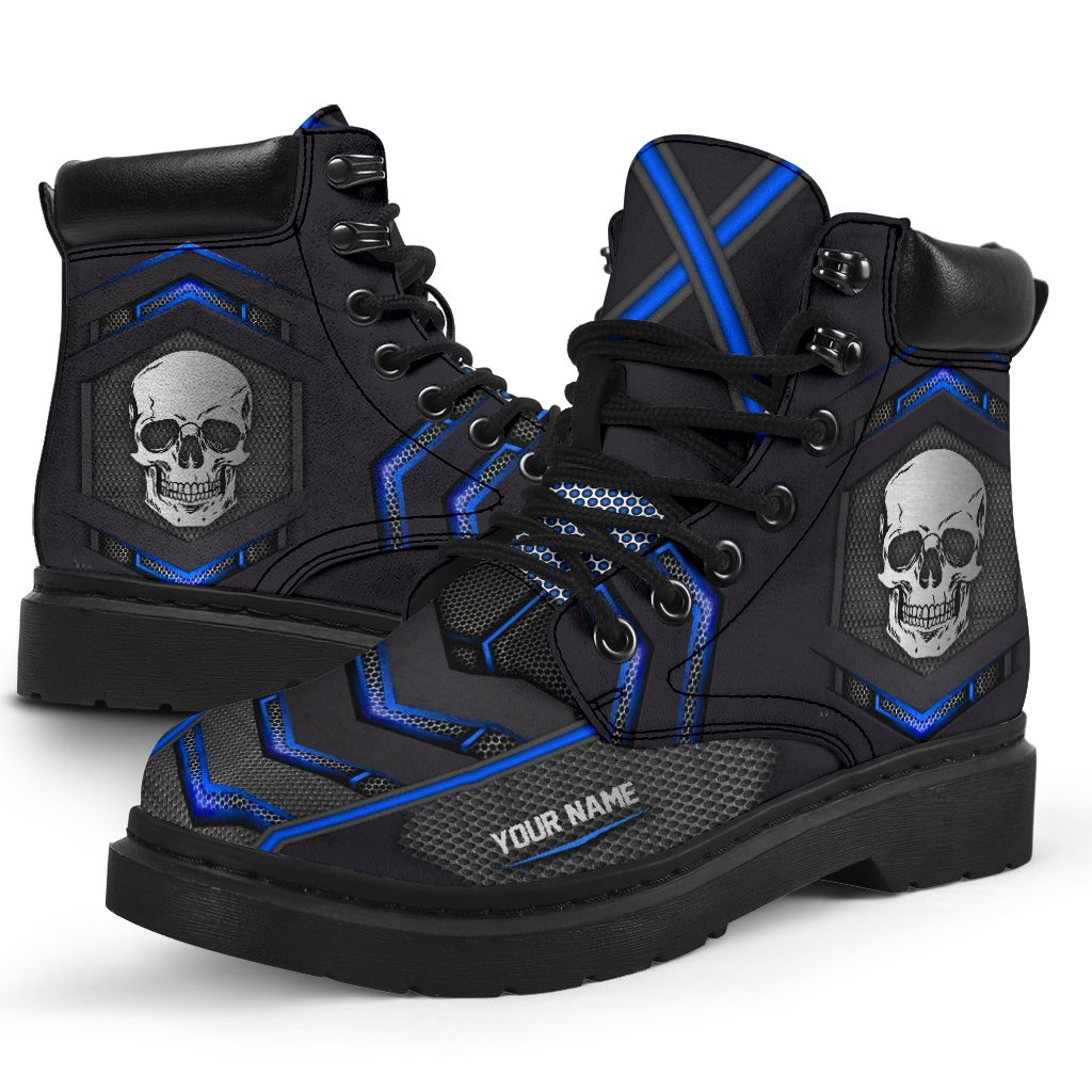 Skull carbon pattern custom name timberland boots 2