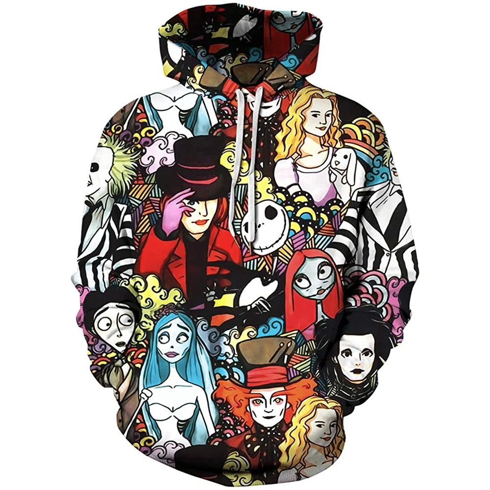 Tim burton characters 3d all over print hoodie 2