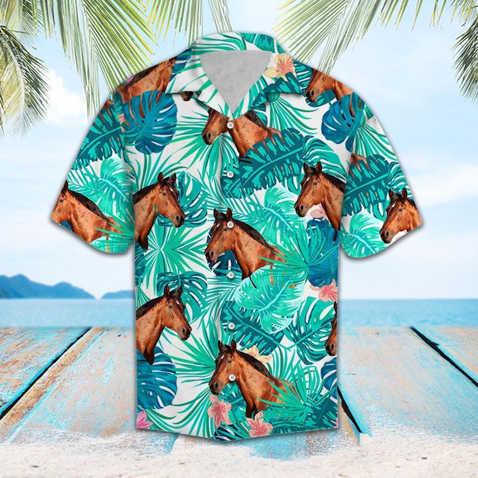 Tropical leaf and horses hawaiian shirt1