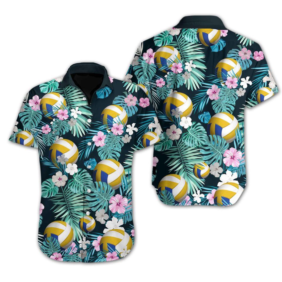 Volleyball flower hawaiian shirt1