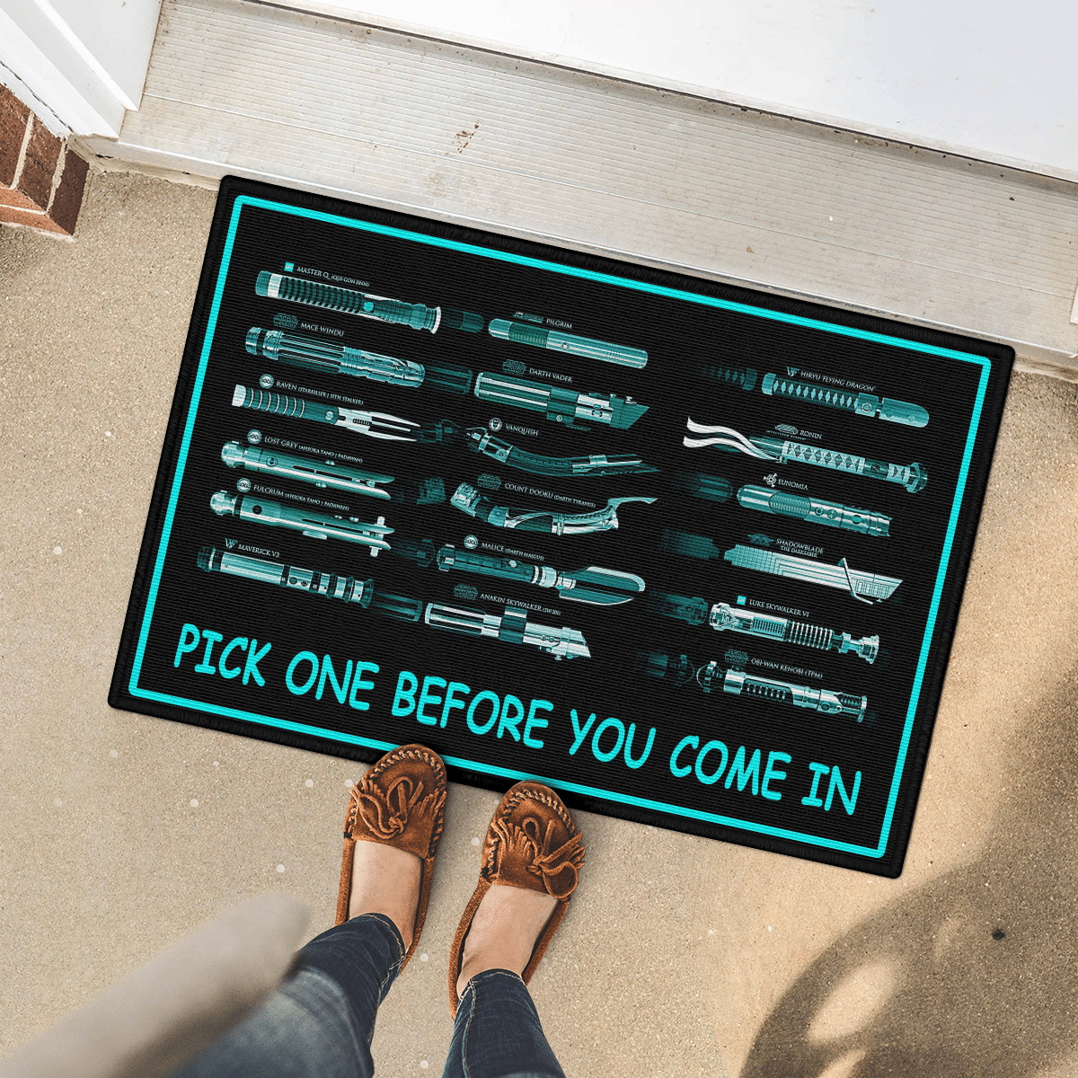 Weapons pick one before you come in doormat 2