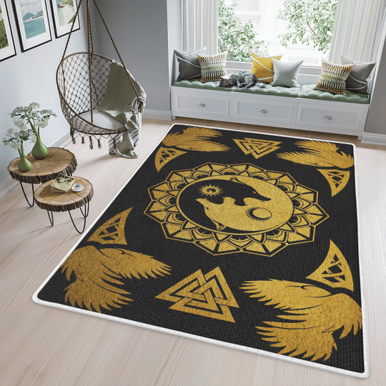 Ying yang wolf and raven viking area rug