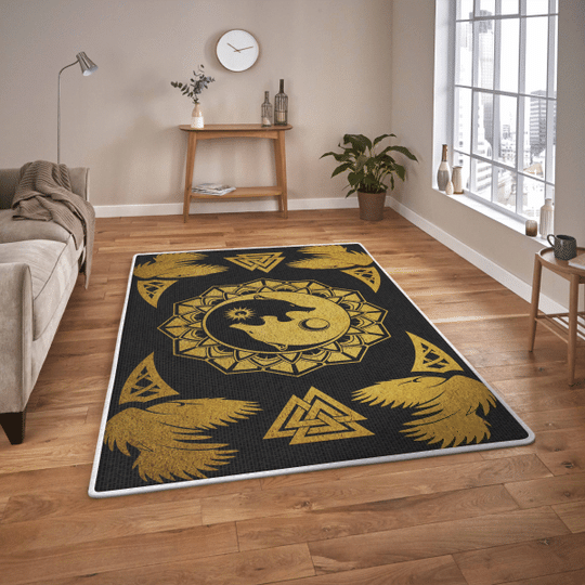 Ying yang wolf and raven viking area rug1