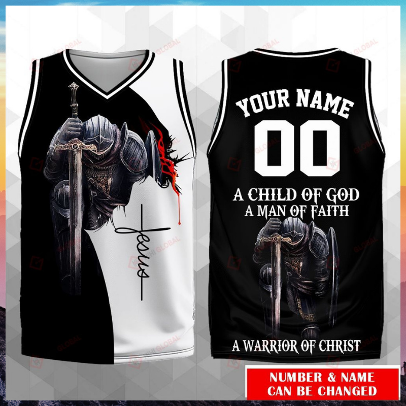 A child of god a man of faith a warrior of christ custom name basketball jersey 1
