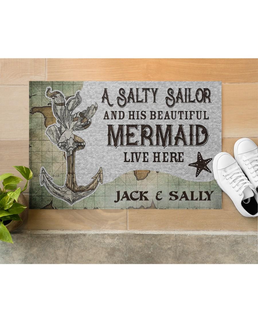 A salty sailor and his beautiful mermaid live here custom name doormat 3