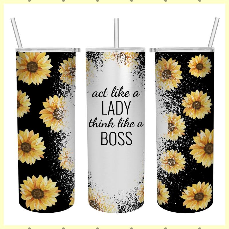 Act like a lady think like a boss skinny tumbler 3