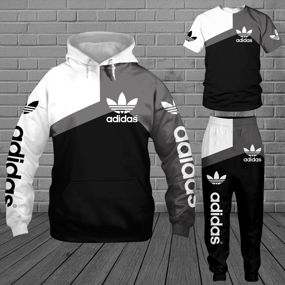 Adidas 3d all over print hoodie T shirt and sweatpants