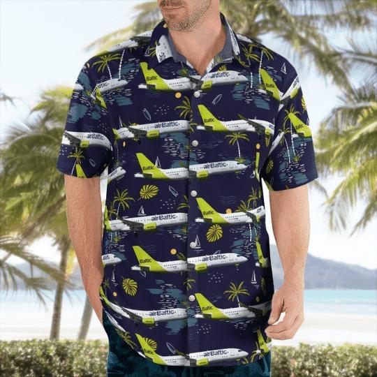 Airbaltic bombardier cseries cs300 hawaiian shirt 2