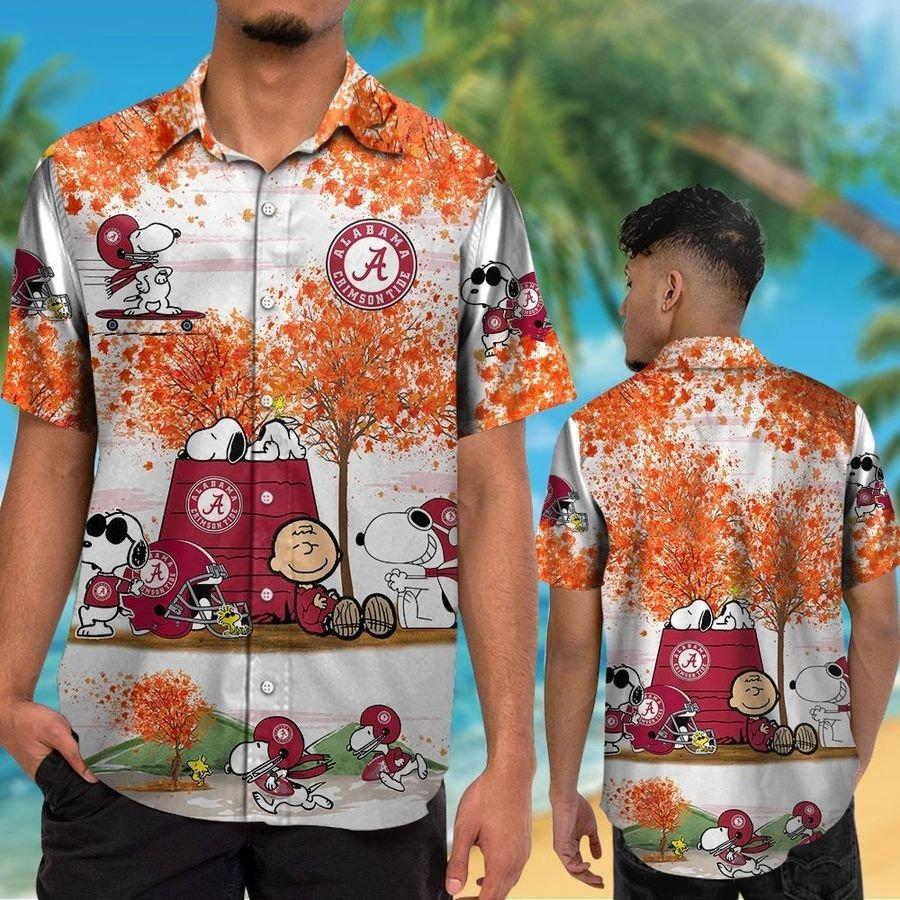 Alabama Crimson Tide Snoopy Autumn Hawaiian Shirt Shorts