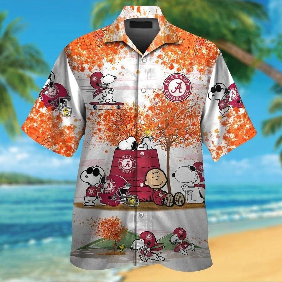 Alabama Crimson Tide Snoopy Autumn Hawaiian Shirt Shorts1