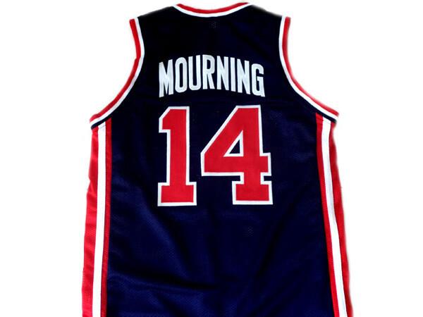 Alonzo Mourning 14 Team USA Basketball Jersey Navy Blue