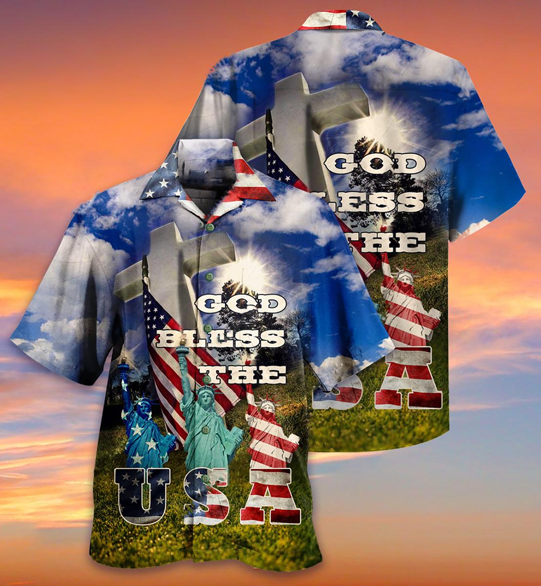 America God bless the USA Hawaiian shirt